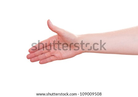 White isolated hand is stretching ahead - stock photo
