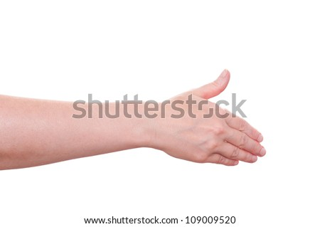 White isolated shaking hand - stock photo