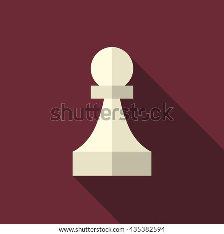 White ivory chess pawn with long shadow on dark red background. Flat style icon. Sport, game, strategy and competition concept - stock photo