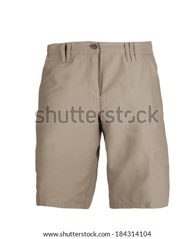 white jeans shorts isolated on the white background - stock photo