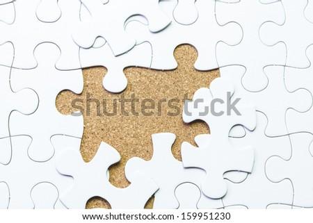 white jigsaw puzzle background - stock photo