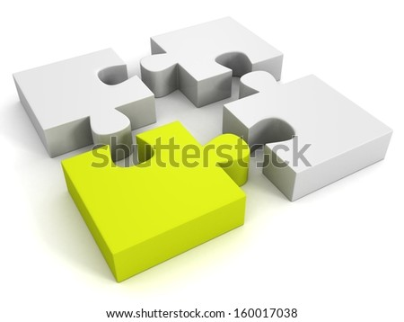 white jigsaw puzzles group with one green individual piece - stock photo