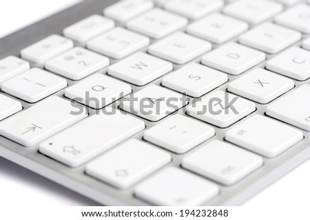 White Keyboard focused on the letter A - stock photo