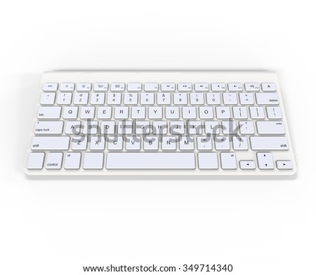 White keyboard on white background, ideal for digital and print design.