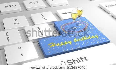 White keyboard with flat keys with the enter key in blue showing happy birthday and two glasses of champagne 3D illustration