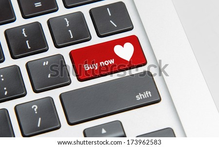White keyboard with heart buy now button
