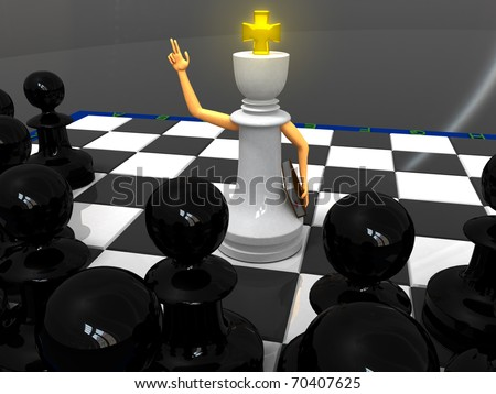 White king monk and black pawns