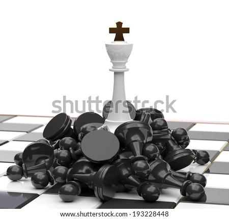 White King on defeated enemies. - stock photo