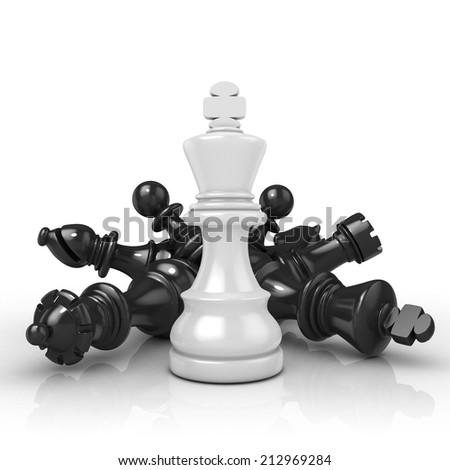 White king standing over fallen black chess pieces, isolated on white background  - stock photo
