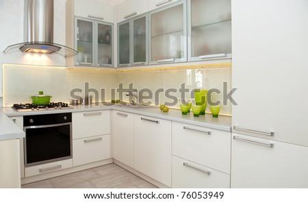 white kitchen - stock photo