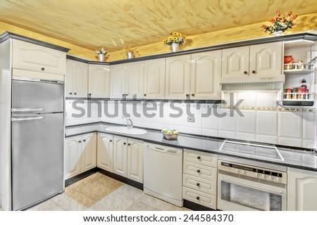 white kitchen in the apartment - stock photo