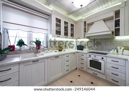 White kitchen interior - stock photo
