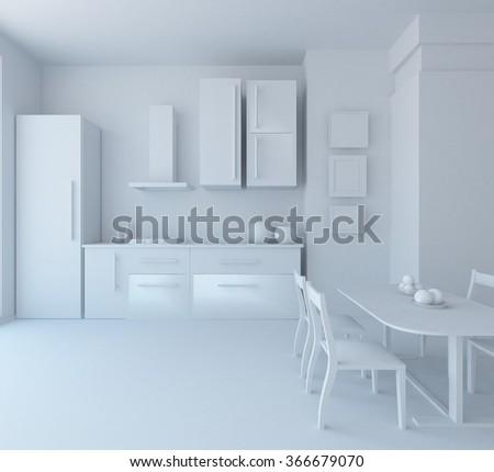 white kitchen interior.3d illustration - stock photo