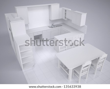 White kitchen. Render in the studio on a gray background - stock photo