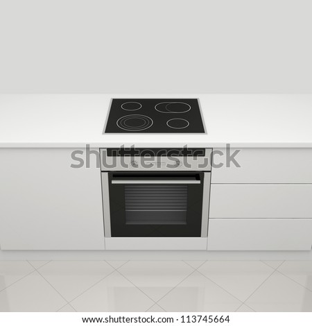 White kitchen with an electric stove and an oven