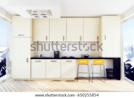 White Kitchen With Orange Chairs. 3d Illustration