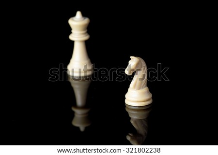 White knight and bishop chess pieces on black background with reflection - stock photo