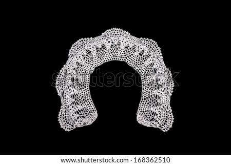 White knitted collar  - stock photo