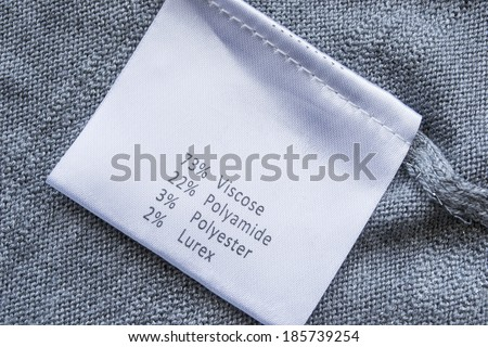White label with fabric composition - stock photo