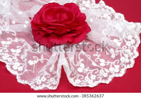 White lace and vine rose on red texturize background