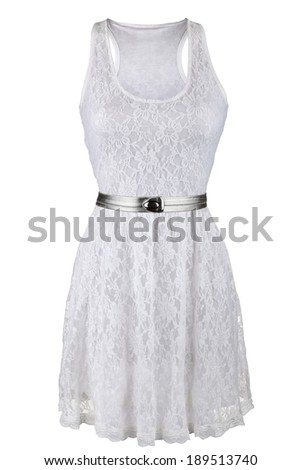 White lace dress with silver belt, isolated on white - stock photo