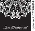 White lace pattern on black background. Vector version available in my portfolio - stock photo