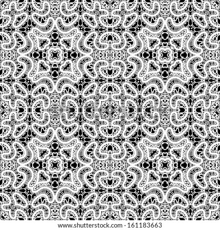 White lace seamless pattern on black, raster background