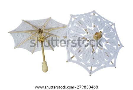 White Lace Umbrellas with Sturdy Handle - path included - stock photo
