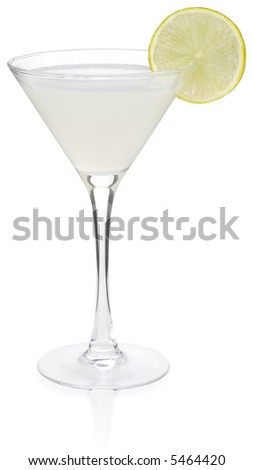 White Lady Cocktail - isolated on white - stock photo