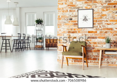 White Lamps Above Countertop With Bar Stools In Dining Room Rustic Furniture And Poster On