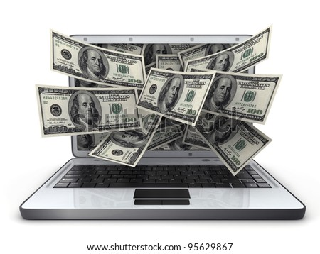 White laptop and money (done in 3d) - stock photo
