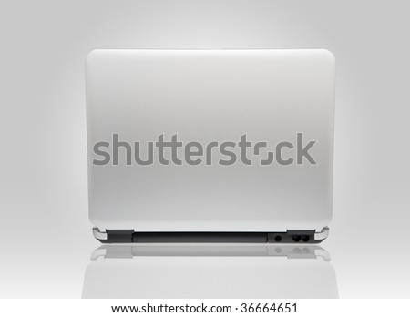 White laptop. Back view