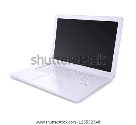 White laptop. Isolated render on a white background