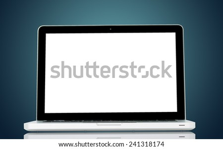 White Laptop with blank screen on dark background