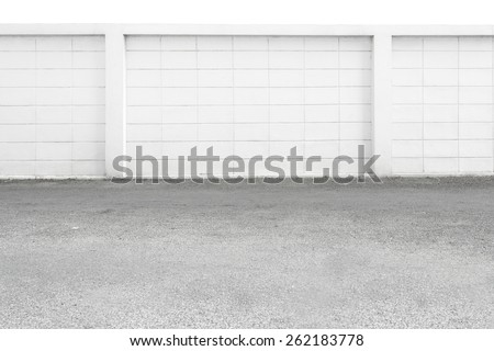 white large concrete block wall background - stock photo