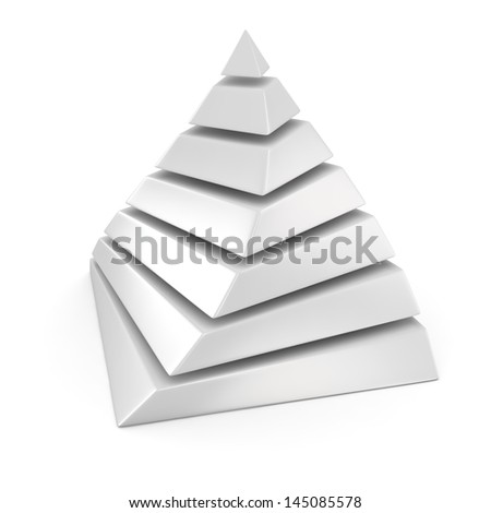 White layered pyramid on the white background - stock photo