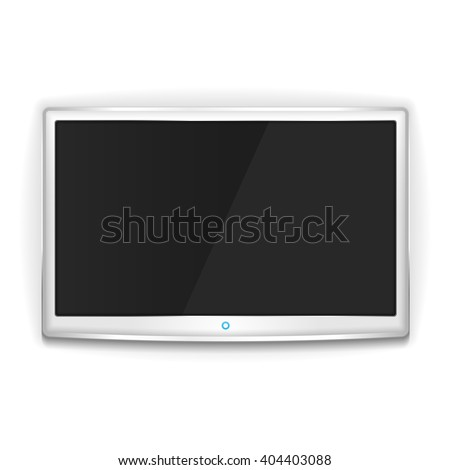 White LCD TV with metallic frame and blank screen - stock photo