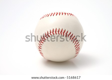 white leather Baseball with red stitching on a white background