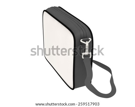 white leather briefcase isolated on white background.