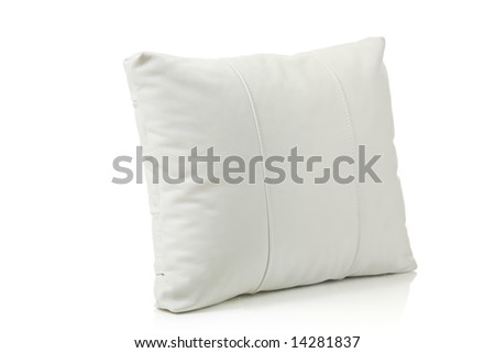 White leather pillow isolated against white background - stock photo