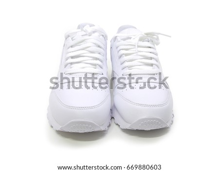White leather shoes,sneakers on white background
