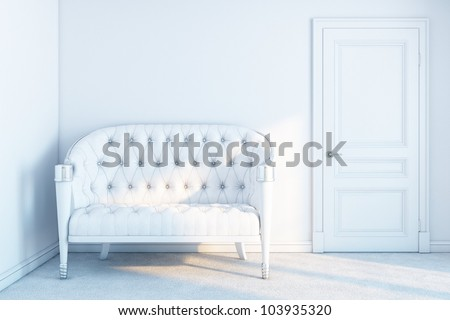 white leather sofa in a white empty room with sunrays - stock photo