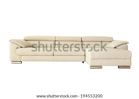 White leather sofa isolated on white background with clipping paths - stock photo