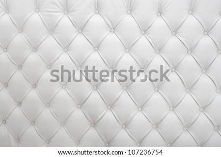 White Leather Upholstery Background - stock photo