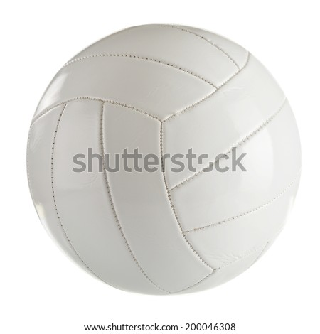 White leather volleyball isolated on a white background - stock photo