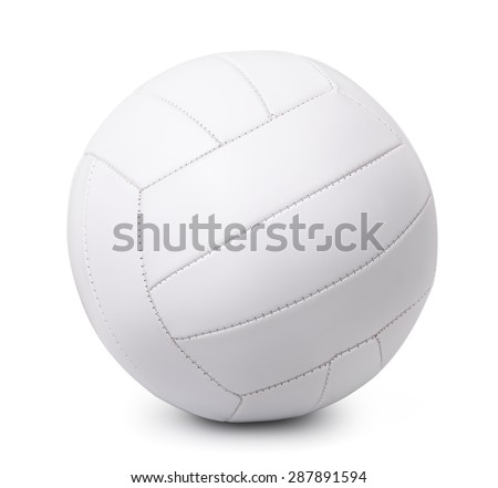 White leather volleyball isolated on white - stock photo