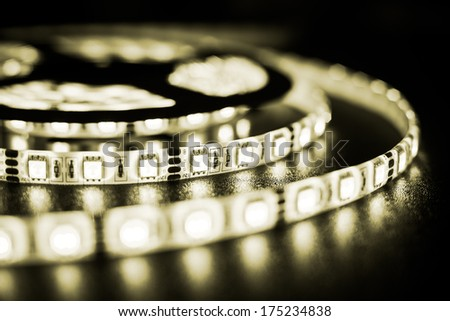 White LED strip on a black background - stock photo