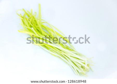 White leek on white background - stock photo