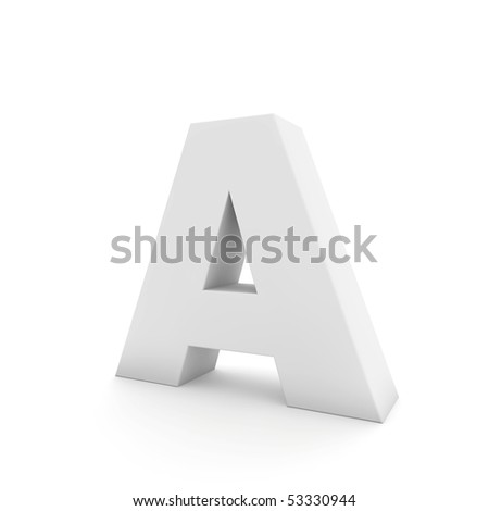 white letter A isolated on white - stock photo