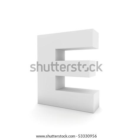 white letter E isolated on white - stock photo